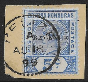 BRITISH HONDURAS SG66a 1899 5c ULTRAMARINE BEVENUE VAR USED ON PIECE