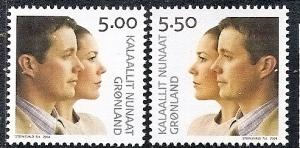 Greenland 429-430 MNH CV$4.25 Royal Wedding Prince Frederik Mary Donaldson