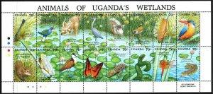 Uganda. 1991. Small sheet 856-71. Fauna of Africa, butterflies, dragonflies. ...