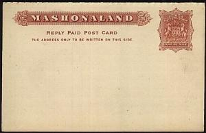 RHODESIA MASHONALAND 1d+1d reply postcard fine unused......................19168