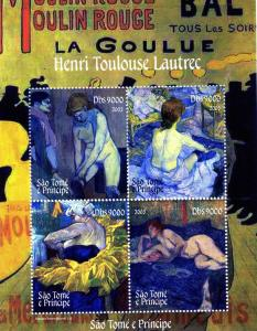Sao Tome & Principe 2005 TOULOUSE LAUTREC Paintings Sheet Perforated Mint (NH)