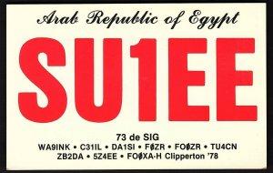 QSL QSO RADIO CARD SU1EE,Arab Republic of Egypt,de Sig,Map, Egypt (Q2732)