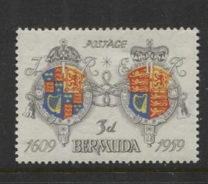Bermuda - Scott 170 - Arms James I & QEII -1959 - MVLH - Single 3d Stamp