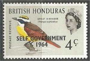 BRITISH HONDURAS, 1964, MNH 4c, SELF GOVERNMENT, Scott 184