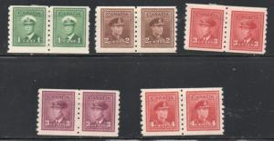 Canada Sc 263-67 1942 G VI War Issue coil stamp pairs set mint