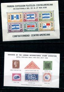 International Exhib 5Sheets cards:Guatemala Israel UK USARussia Expo89 7616