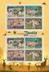 Zambia - WWF - Greater Kudo -  Sheet of 8 ZAM0801