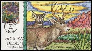 Collins Handpainted FDC Sonoran Desert: Desert Mule Deer (4/6/1999)