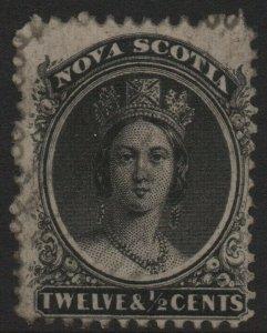 NOVA SCOTIA-1860-63 12½c Black Sg 17 AVERAGE USED V40362
