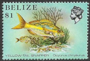 BELIZE 1988 $1.00 Yellow Tail Snapper P.13 1/2 Marine Life Issue Sc 711a MNH