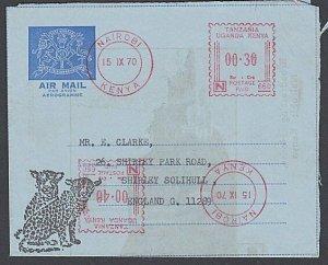 KENYA UGANDA TANGANYIKA 1970 formular aerogramme used to UK - meter.........J573