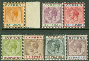 EDW1949SELL : CYPRUS 1912 Sc  #61//71. 7 values. All Fresh & VF MNH  Cat $233++