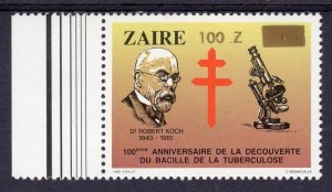 Zaire 1990 DR. R. KOCH Anniversary Gold Ovpt.New Value 1v Perforated Mint (NH)