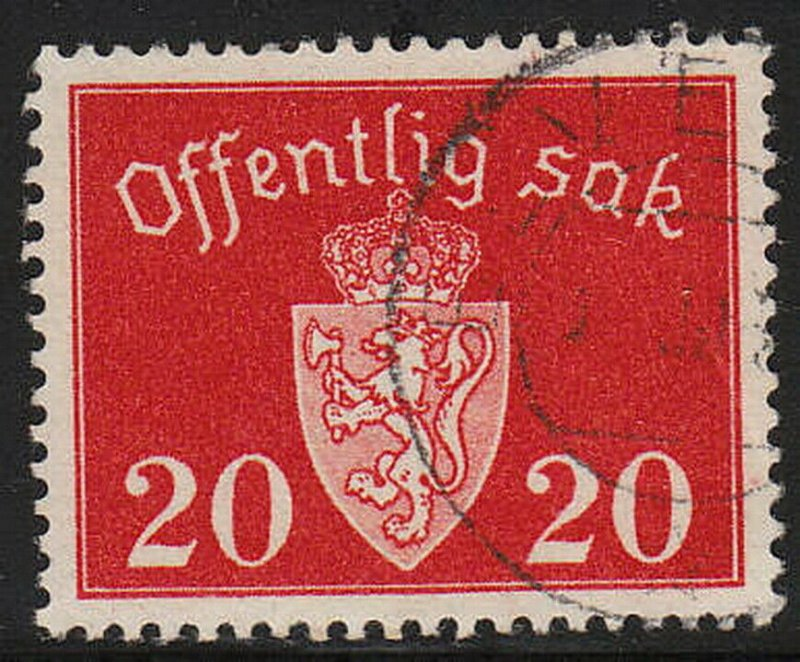 Stamp Norway Official Sc O037 WWII Dienst War Germany Coat Arms Quisling Used