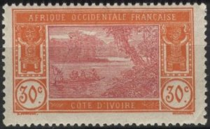 Ivory Coast 55 (mh) 30c river scene, red org & rose (1922)