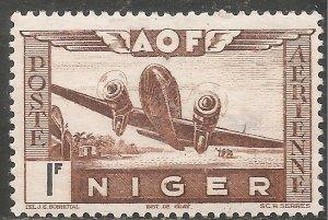 Niger Air Post Stamp - Scott #C7/CD88 1fr Brown & Black OG Mint/LH 1942
