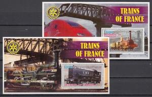 Somalia, 2002 Cinderella issue. Trains of France on 2 s/sheets. Rotary logo.