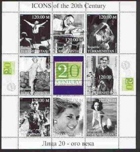 Turkmenistan 1999 Icons of the 20th Century #2 perf sheet...