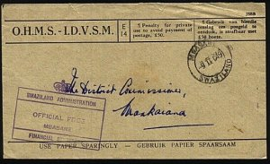 SWAZILAND 1949 OHMS cover Finance Dept Mbabane to Mankaiana................23627