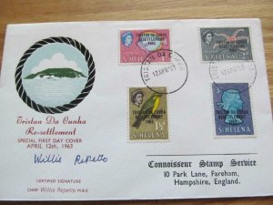 Tristan Da Cunha Resettlement on St.Helena Stamps Signed4 Value FDC 1963