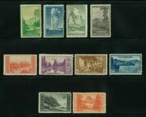 US 1934 National Parks Year Set Complete, Scott 740-749, MNG, Value = $10.85
