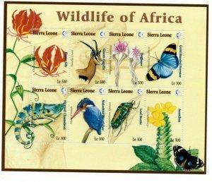 Sierra Leone MNH S/S 1818 Wildlife Of Africa Flowers Birds Fauna