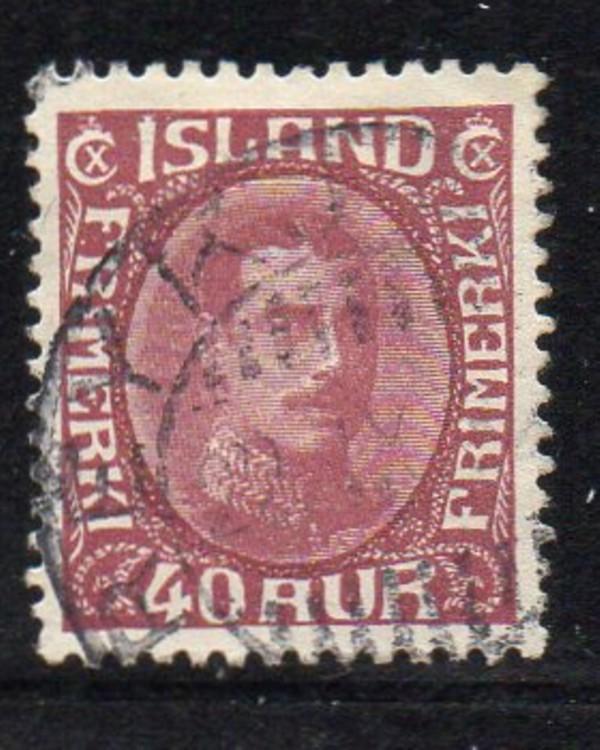 Iceland Sc 123 1920 40 aur claret Christian X stamp used