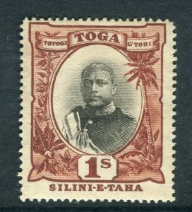 TONGA; 1897 early Pictorial issue Mint hinged 1s. value