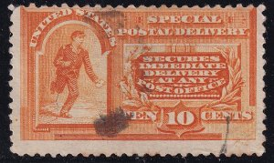 US STAMP BOB #E3 1893 10¢ Messenger Running Special Delivery Used thin crease