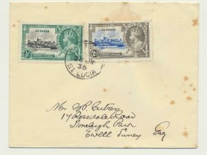 ST LUCIA 1935 ½d & 2d SILVER JUBILEE ON COMMERCIAL COVER TO UK (SEE BELOW)