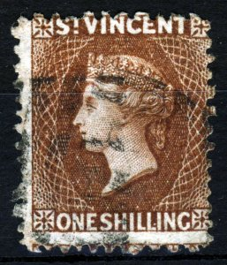 ST. VINCENT QV 1869 One Shilling Brown No Watermark Rough Perf.12 SG 14 VFU