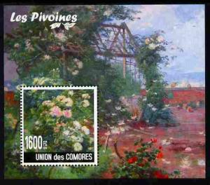 Comoro Islands 2009 Flowers of China - Peonies perf m/she...