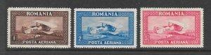 Romania Scott C1 - C3 Bi-plane air mail stamps 2017 CV $9.00