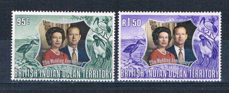 British Indian Ocean Territory 48-49 MLH set 25th Wedding Anni 1972 (B0430)