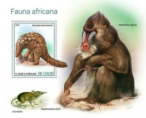 Sao Tome & Principe 2021 MNH Wild Animals Stamps African Fauna Pangolins 1v S/S