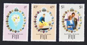 Fiji Charles and Diana Royal Wedding 3v 1981 MNH SG#612-614 MI#436-438