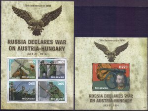 Gambia. 2014. Rossica 1st World War Tsar. MNH.