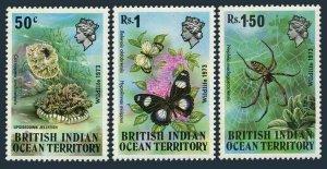 BIOT 54-56,hinged. Marine life 1973.Upside down Jellyfish,Butterflies,Spider.