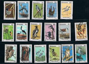 Botswana SC198-214 (9cancelled8mnh)Beautiful Birds 1978
