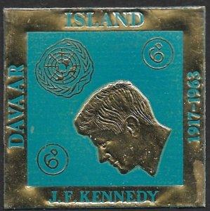 GB SCOTLAND LOCALS / DAVAAR ISLAND 1964 6d JFK Gold Fold DIAMOND SHAPED MNH