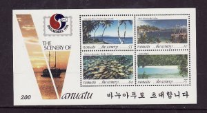 Vanuatu-Sc#606a- id7-unused NH sheet-Island scenes-Fish-1993-