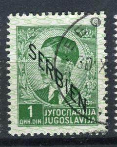 SERBIA; GERMAN Occupation issue 1941 fine used Optd. 1d. value