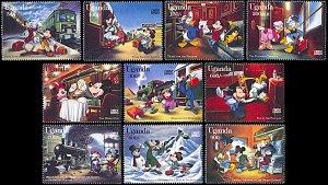 Uganda 1398-1407, MNH, Disney On the Orient Express