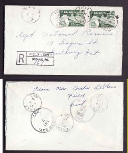 Canada #1803a -Nipissing district -20c (2) Pulp & Paper registered - Field Ont C
