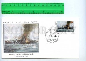 242052 MARSHALL ISLANDS WWII German Battleship Tirpitz Sunk 1994 year FDC