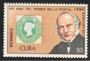 1990 Cuba Stamps Sc Sc 3220 Sir Rowland Hill Penny Black 150th Anniv. MNH