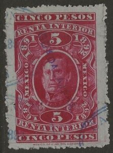 Mexico Revenue 1891-92 Renta Interior Arista 5P Carmine VF Used CV 8.00
