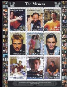 THE MEXICAN Brad Pitt + Julia Roberts - Mini Sheet of 9 MNH Kyrgyzstan - E38