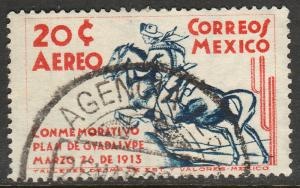 MEXICO C82, 20c PLAN OF GUADALUPE 25th ANNIVERSARY USED. F-VF.  (601)