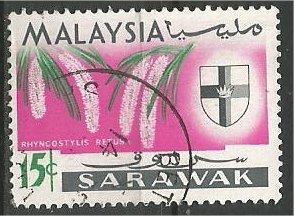 SARAWAK, 1965, used  15c, Orchid Scott 233